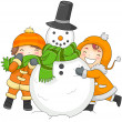 Kids Playing with a Snowman - Foto Stock