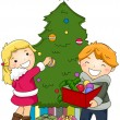 Kids Decorating a Christmas Tree — Stock Photo #7601660