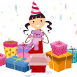Girl Opening Gifts — Stock Photo