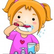 Kid Brushing Teeth - Stock Photo