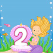 Mermaid Birthday Candle — 图库照片