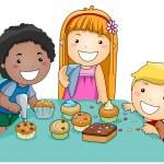 Kids Decorating Cupcakes — Stock Photo #7602466