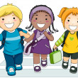Kids Going to School - Stock Photo