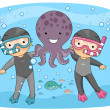 Kids Playing with Octopus — Stock Photo