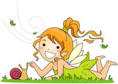 Fairy Playing with a Snail — Stock Photo