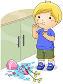 Illustration of a Boy Who Got His Finger Cut — Stock Photo