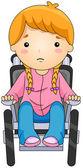 坐在轮椅上的孩子 — 图库照片