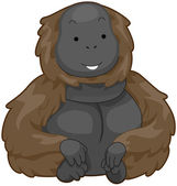 Illustration of an Ape Flashing a Smile While Sitting — Stock Photo