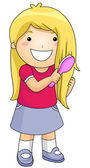 Kid Brushing Hair — Stock Photo