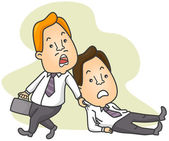 Man Dragging Colleague to Work — Stock Photo