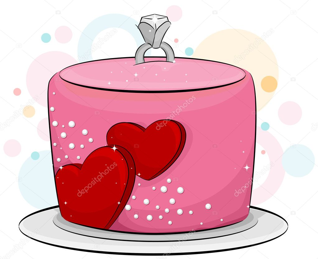 Illustration of an Engagement Cake with an Engagement Ring on Top  Stock Photo #7600334