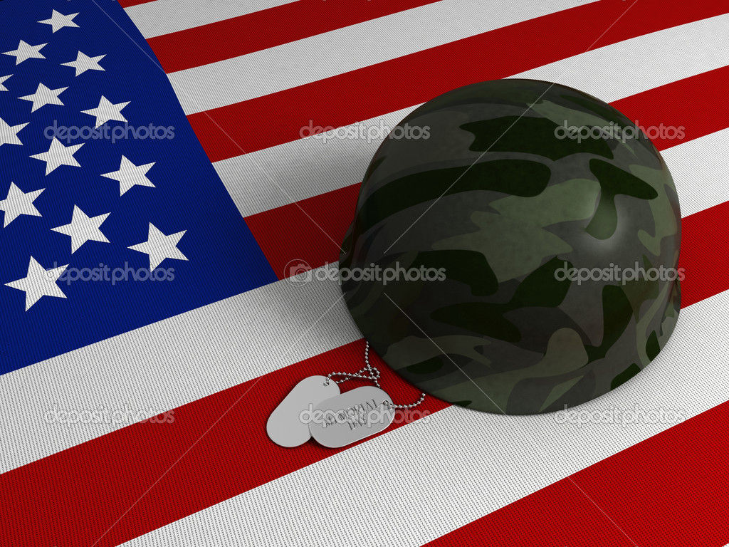 3D Illustration of a US Flag, Military Helmet, and Dog Tags  Stock Photo #7600377