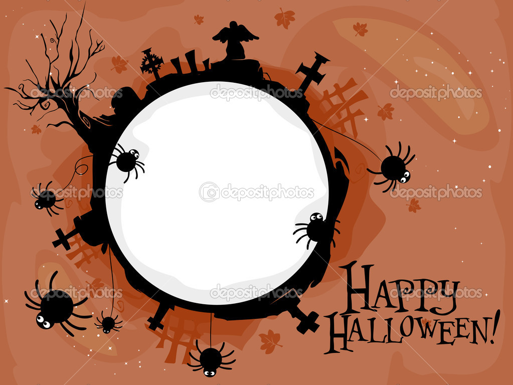Halloween-themed Frame Featuring a Creepy Graveyard — Stock Photo #7600434