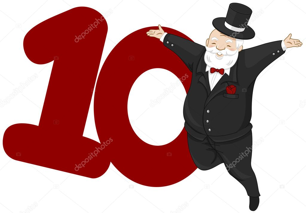 Illustration of a Nobleman Leaping Beside a Number Ten — Stock Photo #7601422