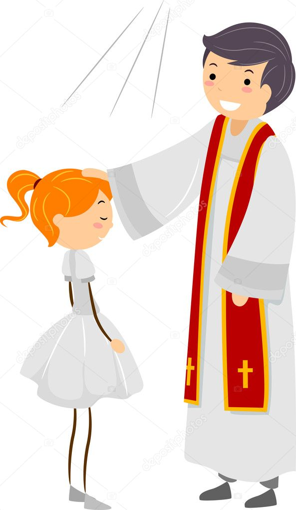 Illustration of a Girl Going Through Confirmation Rites  Stock Photo #7601454