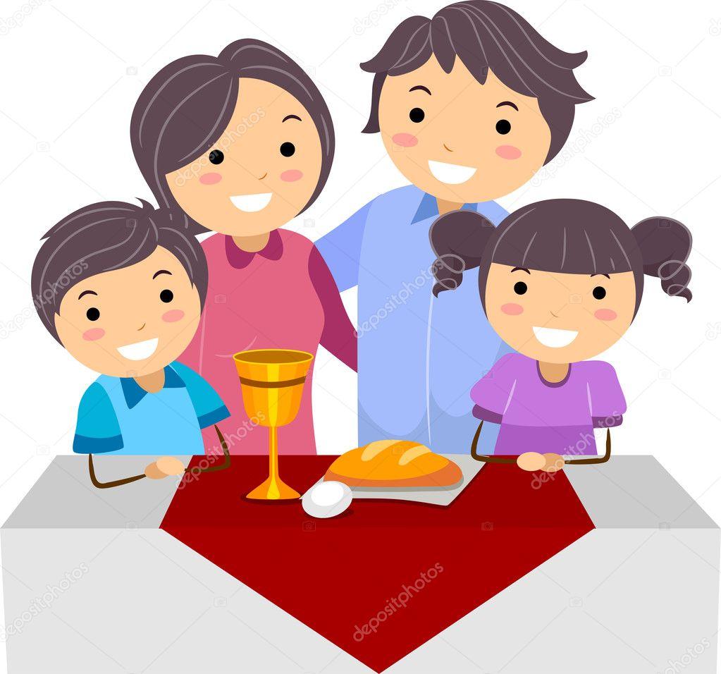 一家人庆祝逾越节的插图