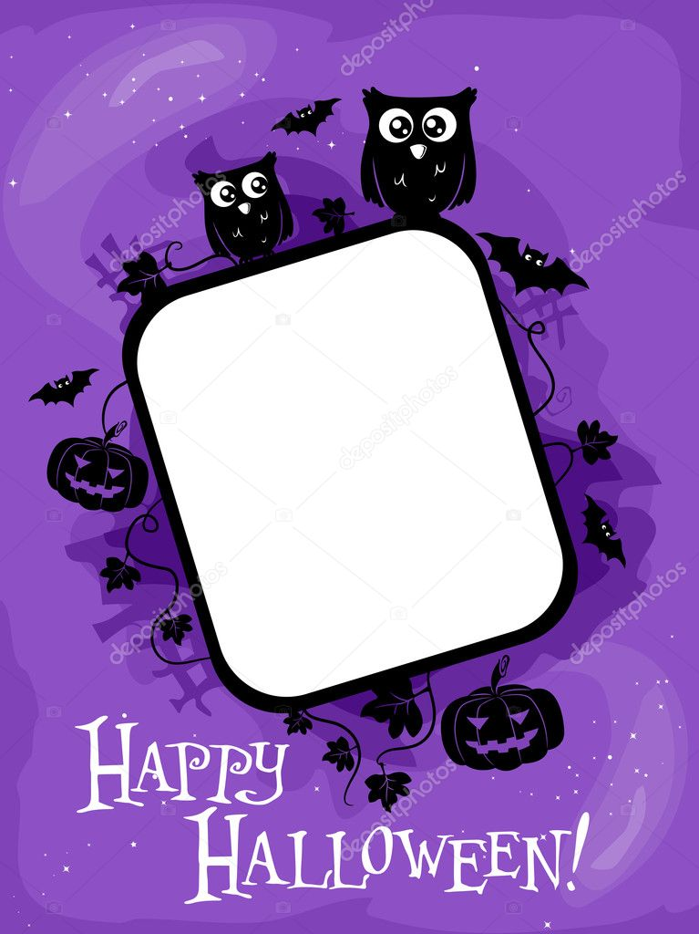 Halloween Themed Frame Featuring Silhouettes of an Owl, Jack o Lanterns, Bats, and Vines — Stock Photo #7601532
