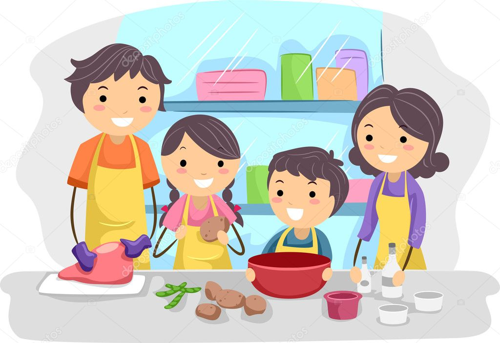 Illustration of a Family Preparing Ingredients for Cooking — Stock Photo #7601755