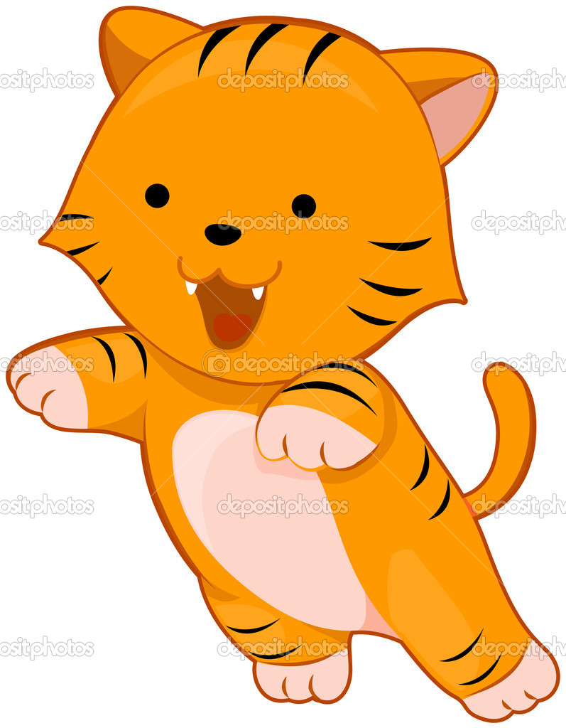 Cute Tiger Clip Art Baby tiger - stock image