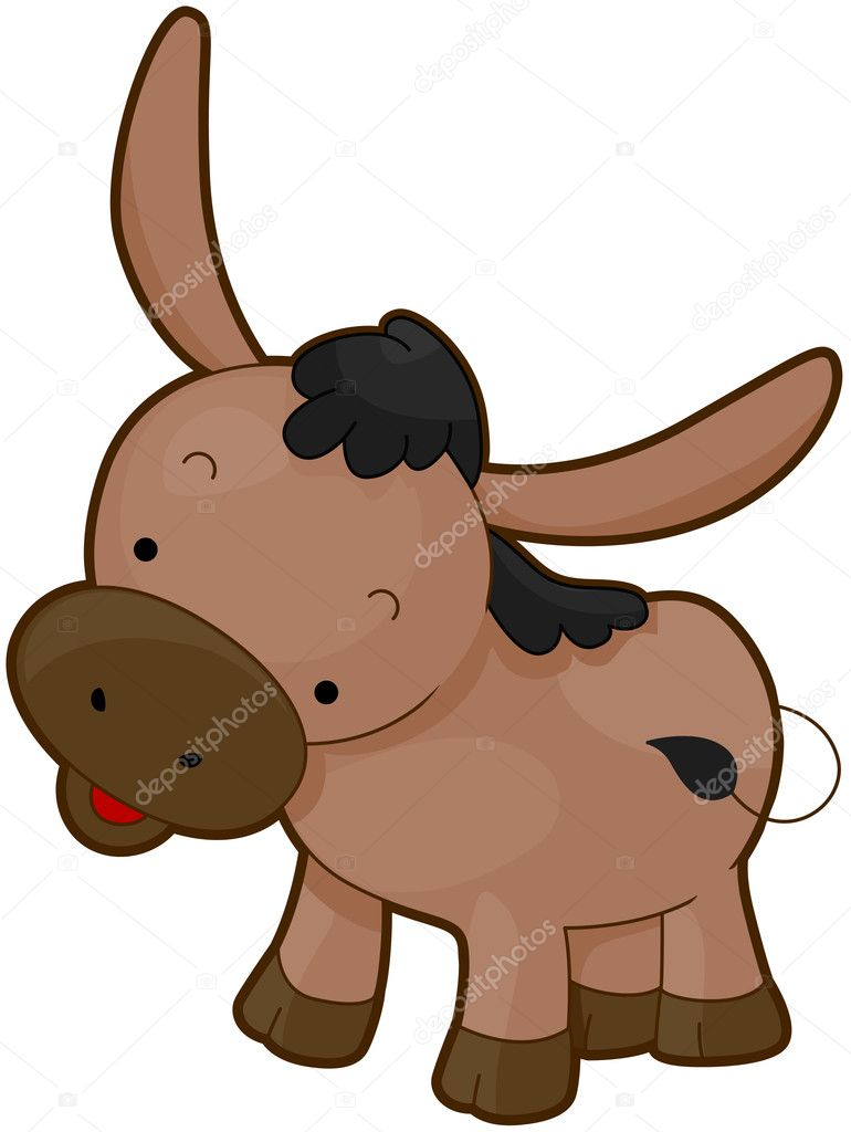 Illustration of a Cute Donkey Flashing a Smile — Stock Photo #7602018