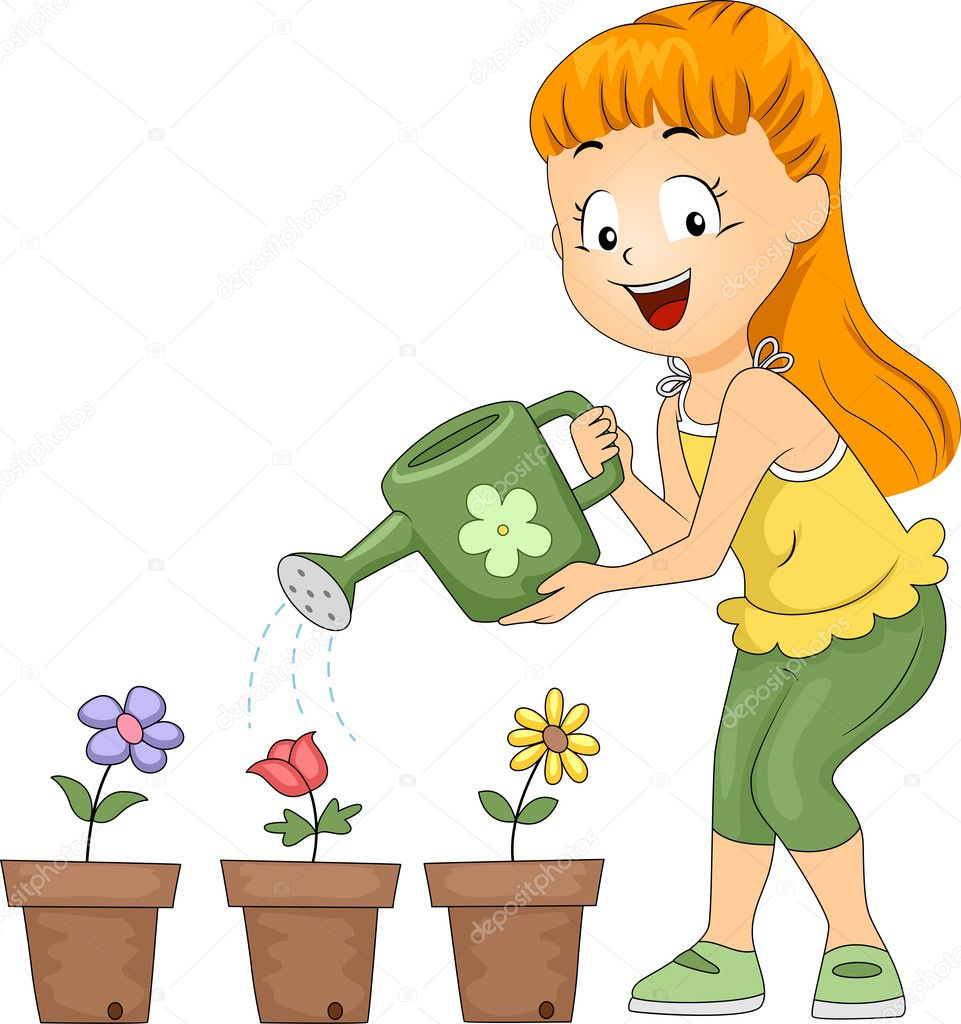 Watering Flowers Clipart Regando flores - imagem stock