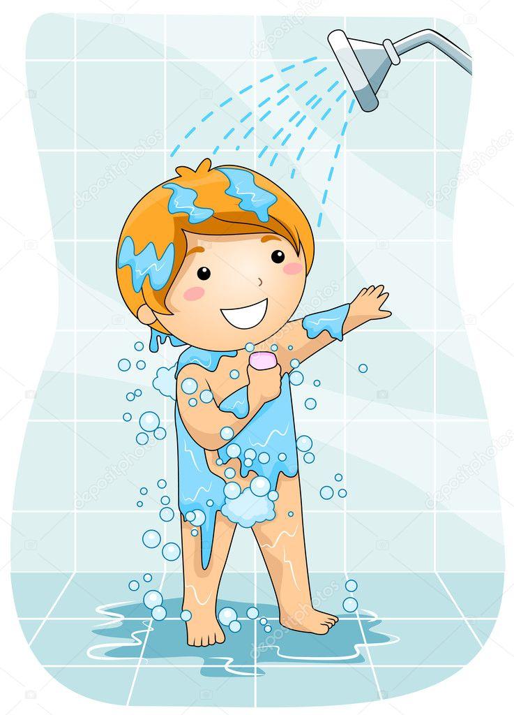 Regadera De Baño Animada:Un niño en la ducha — Foto de stock © lenmdp #7602373