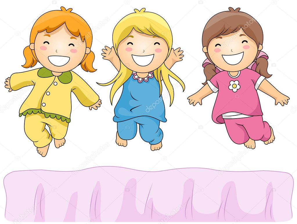 Girl put on pajamas clipart