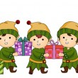 Christmas Elves working — Stock Photo