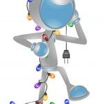 3D Vector Robot: Christmas Light — Stock Photo