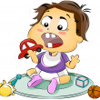 Baby putting Toy in Mouth — Stock Photo #7734556