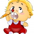 Baby putting pencil on his Nose — Stockfoto