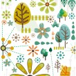 Nature Doodles in Retro Colors — Stock Photo