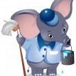 Elephant Janitor — Stock Photo