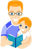 Father Reading Book — Stock Photo