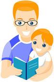 Libro de lectura del padre — Foto de Stock