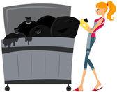 Setzen von Müll in Mülltonne — Stockfoto
