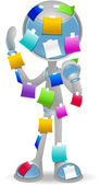 3D Vector Robot: Stickies — Stockfoto