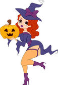 Pinup Girl Witch — Stock Photo