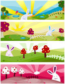 Nature Rabbit Banners — Stock Photo