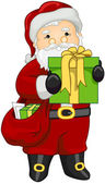 Santa holding Gift — Stock Photo