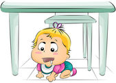 Baby Hungry Under the Table — Stock Photo