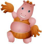 Hippo Cheerleader — Stock Photo