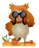 Owl using Binoculars — Stock Photo