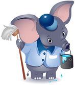 Elephant Janitor — Stock Photo