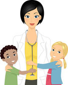 Doctor with Kids — Stock Photo