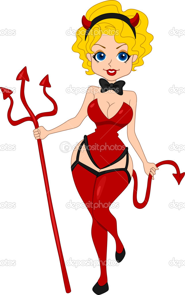Illustration of a Pinup Girl Dressed as a Devil  Stock Photo #7734080