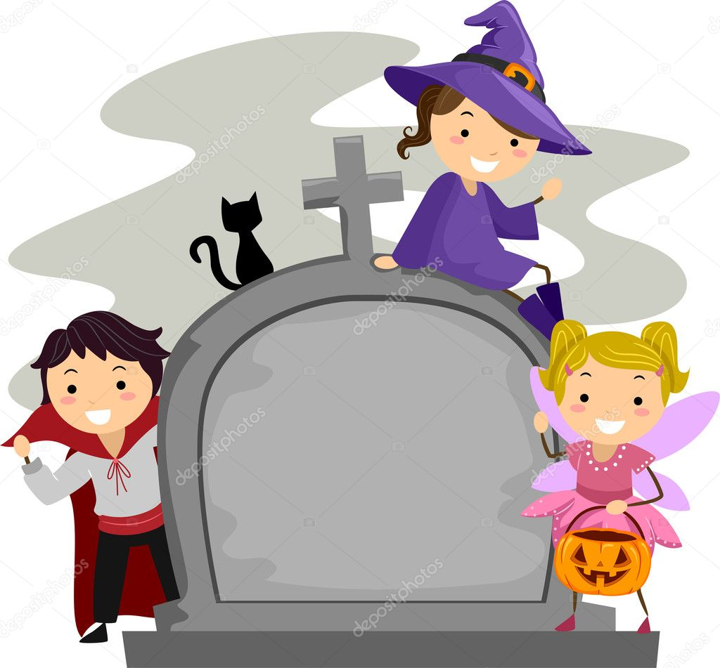 Illustration of Kids Posing Beside a Tombstone — Stock Photo #7734133