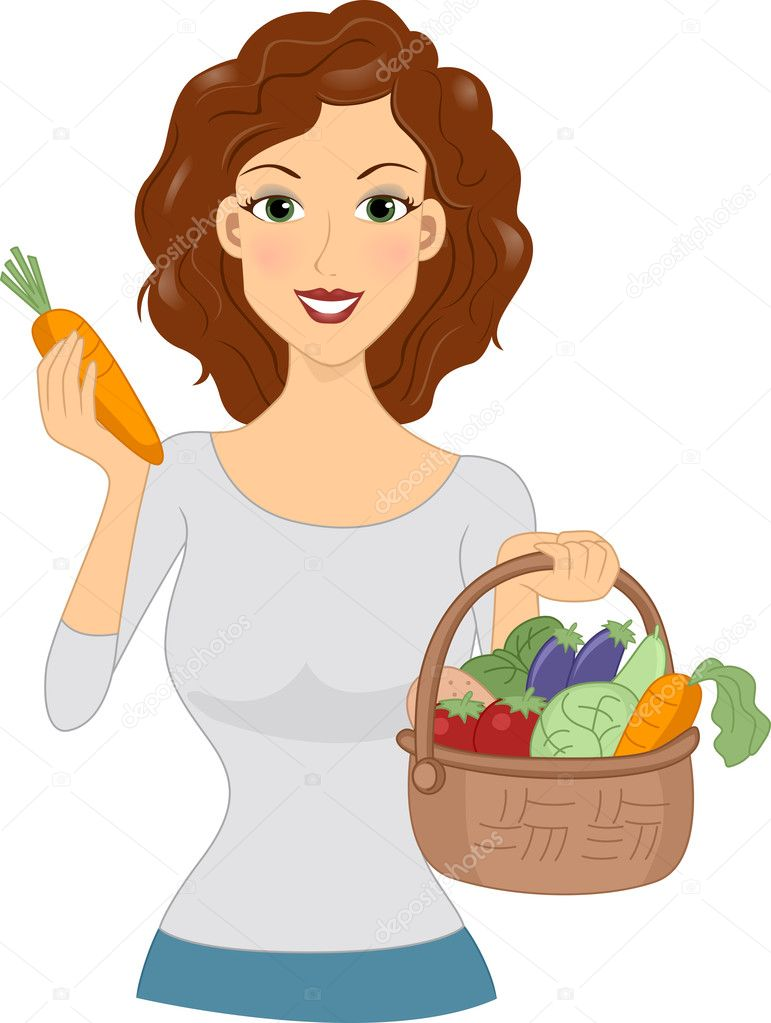 Illustration of a Girl Holding a Basket Full of Vegetables — Stock Photo #7735009