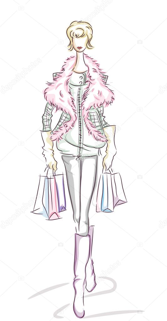 Woman Shopping Sketch with Clipping Path — Stock Photo #7735351