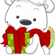 Polar Bear Gift - Stock Photo